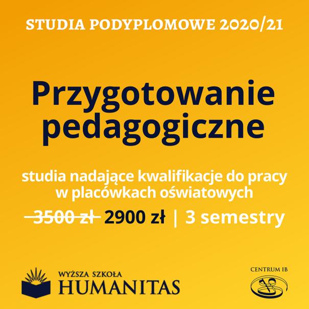 Przygotowanie pedagogiczne - studia podyplomowe 2020/21
