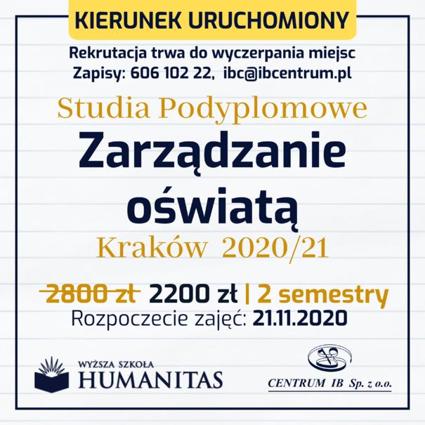Zarządzanie oświatą - studia podyplomowe 2020/21